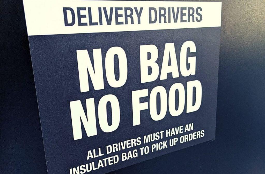 No bag, no food restaurant sign