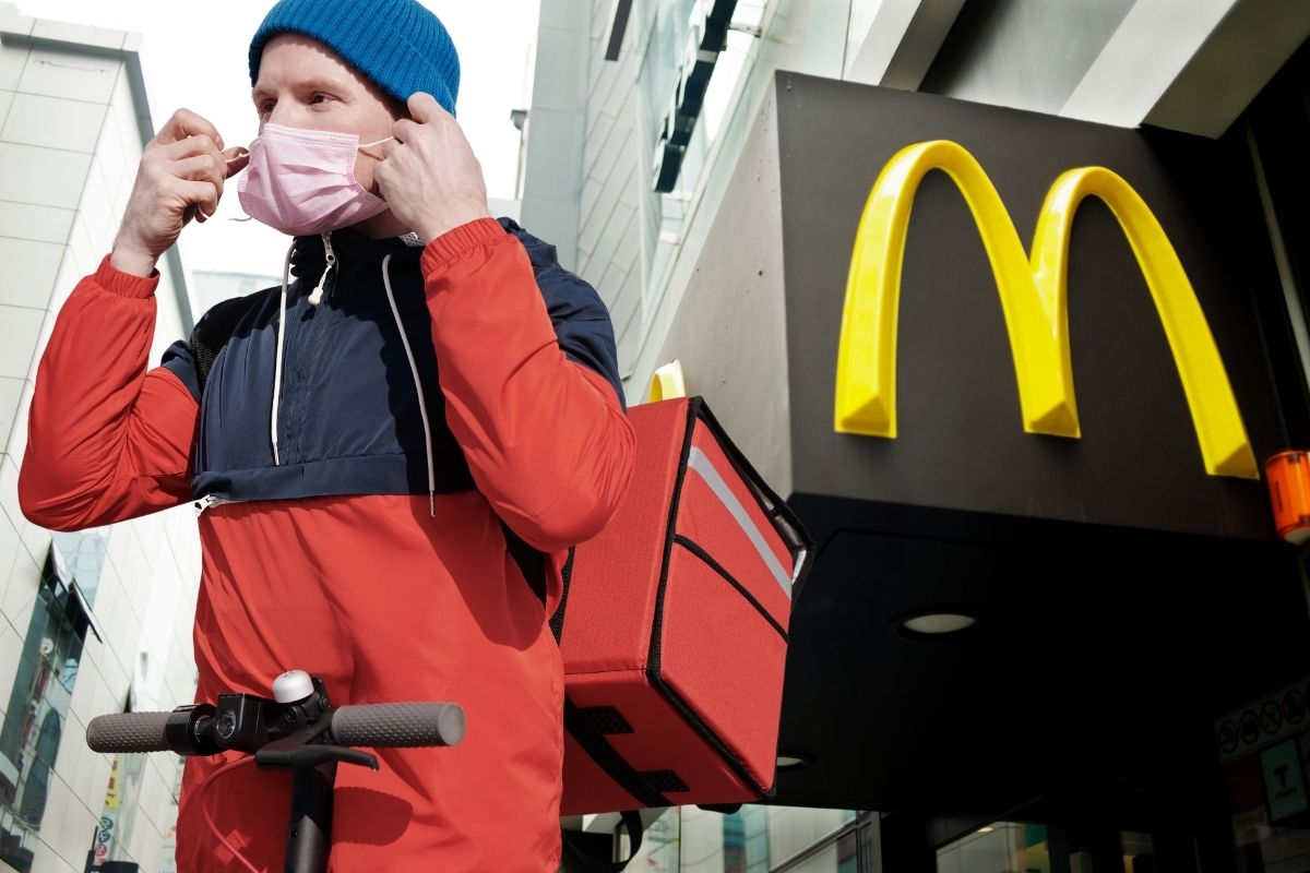 delivery driver outside McDonald's restaurant